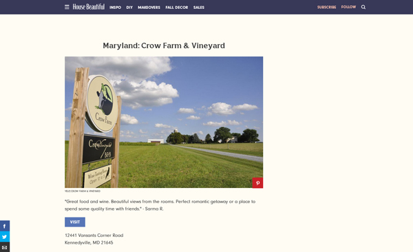 Crow Vineyarrd & Winery Noted as Best Winery in MD
