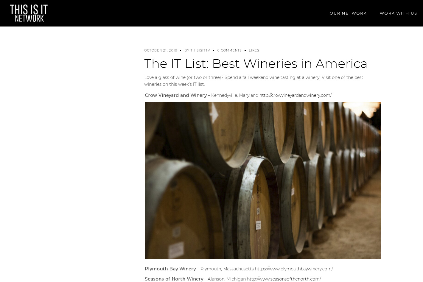 "Crow Vineyard & Winery ""IT List"""